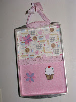 Pink Muffin Theme Altered Cookie Sheet Magnet Board