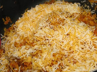 Chicken and Rice Burrito filling with cheese