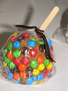 Caramel Dipped Apple with M&Ms