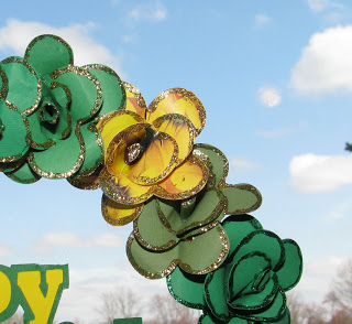 Paper Flowers on St. Patricks Day Wreath