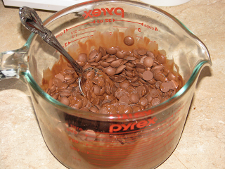 Melting CHocolate candy wafers in a measuring cup