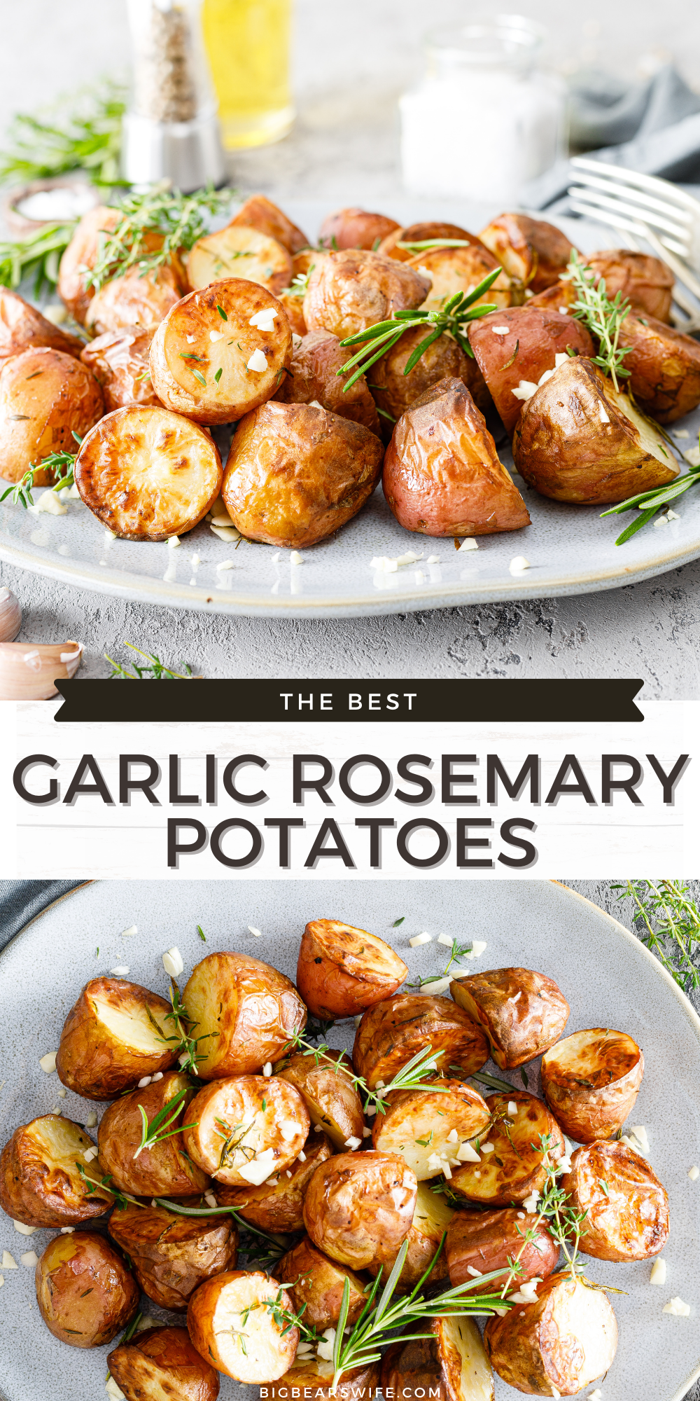 This easy Garlic Rosemary Potatoes side dish is ready in under an hour! It's great for Thanksgiving, Christmas or just as a side for a fabulous dinner any time of year! via @bigbearswife