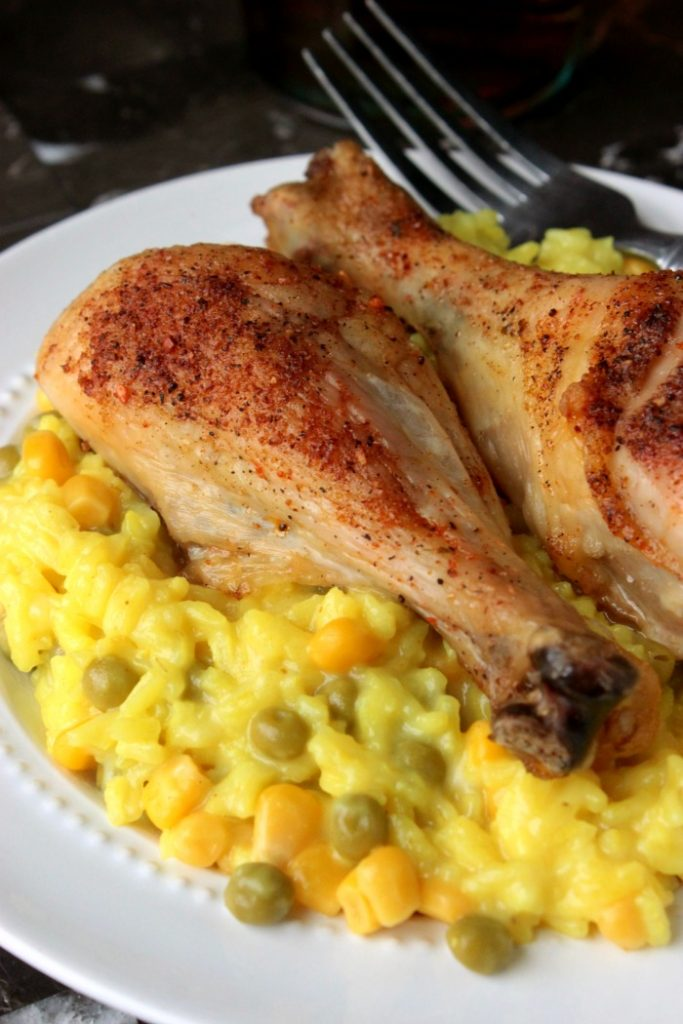 Roasted Chicken Leg Arroz Con Pollo - This Roasted Chicken Leg Arroz Con Pollo dish is my take on our favorite Arroz Con Pollo dish that we order at the Mexican Restaurant here in town.
