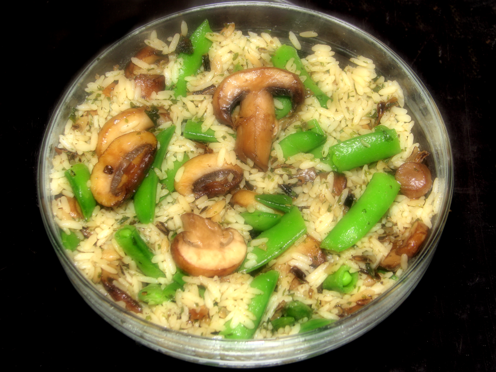 Baby Sugar Snap Peas and Mushroom Wild Rice