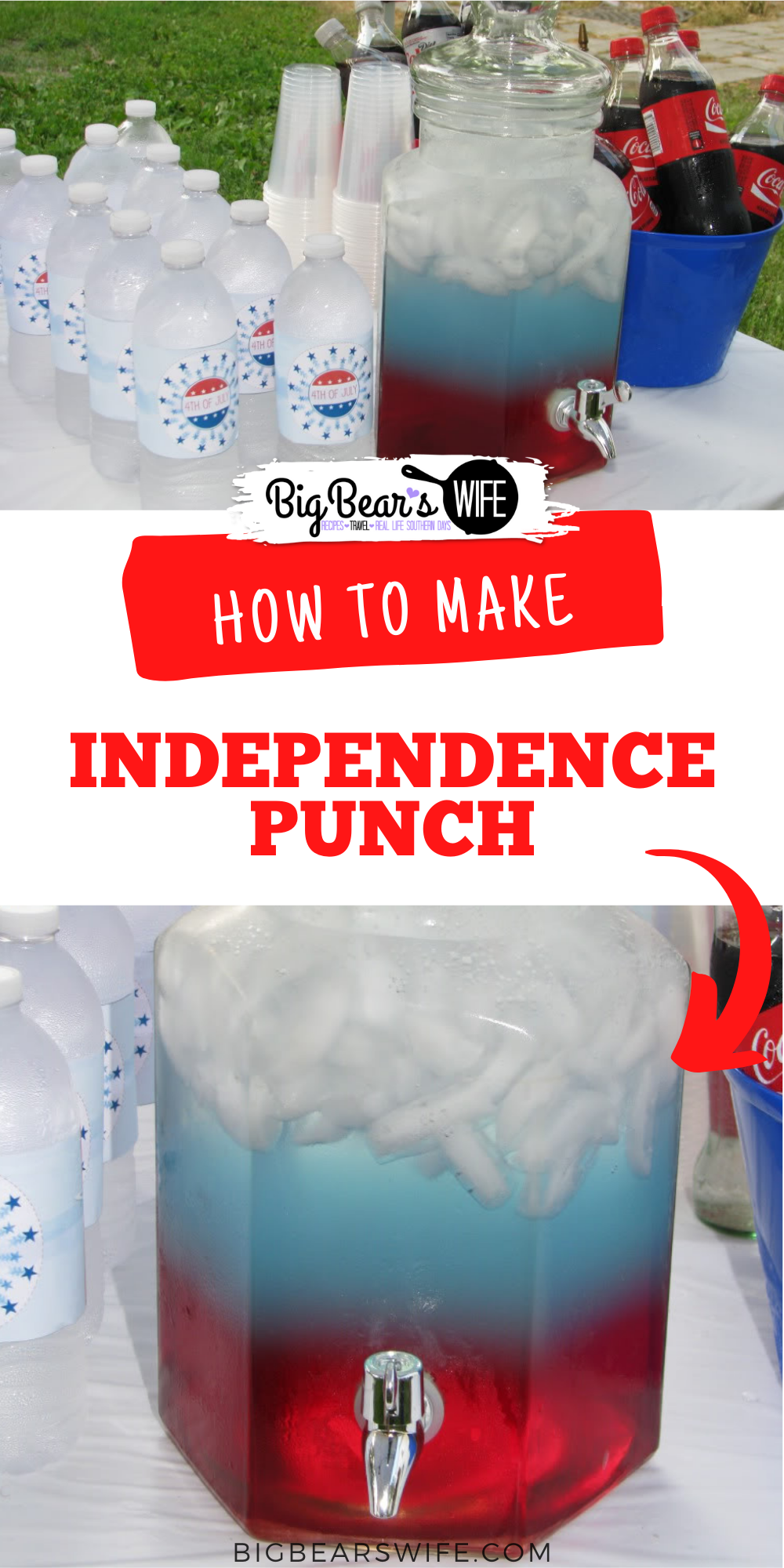 Ready for the most patriotic drink around? This Independence Punch will totally wow guest for 4th of July, Memorial and Veteran's day! via @bigbearswife