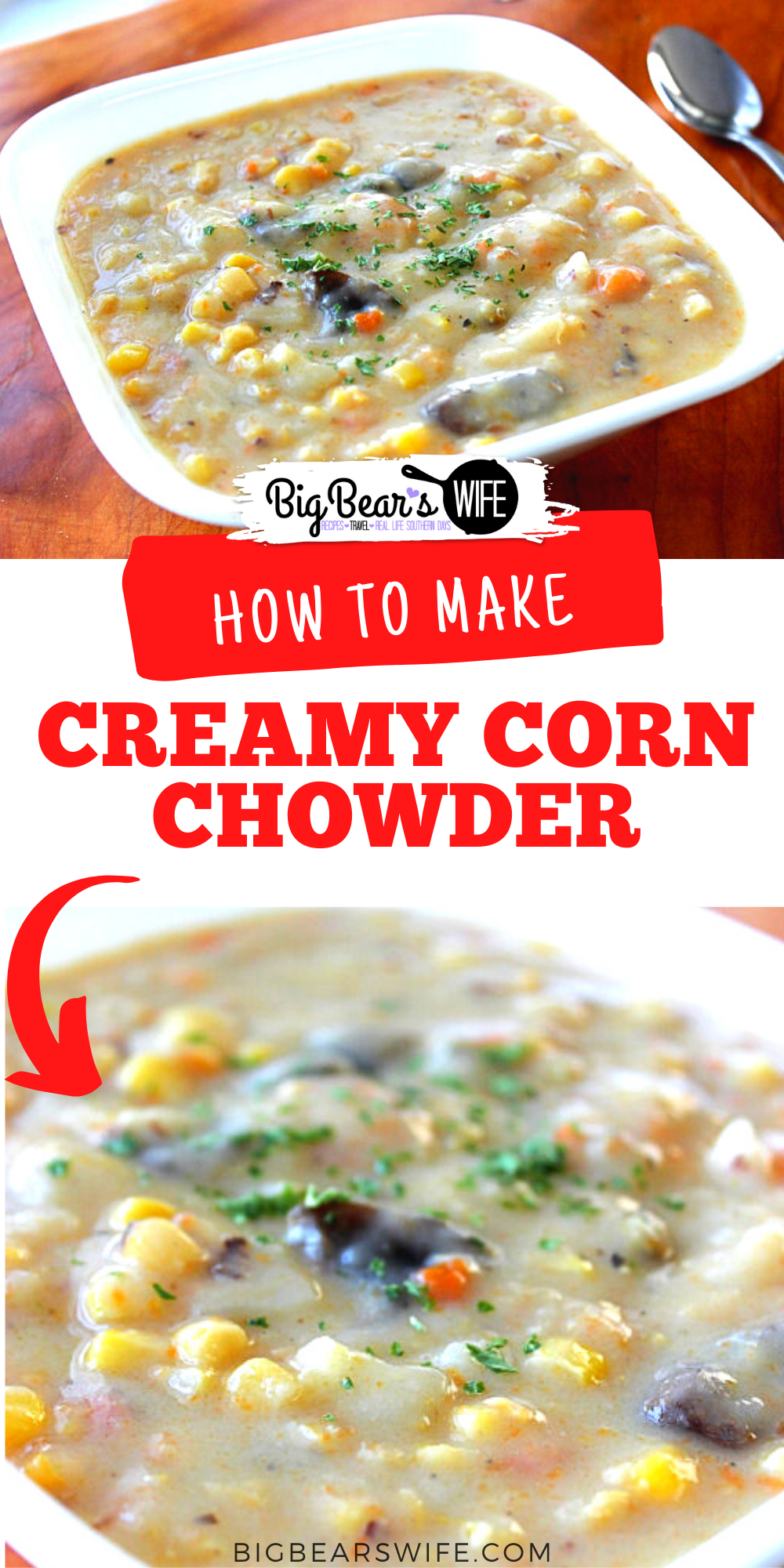 This Creamy Corn Chowder is an amazing recipe for any soup lover! It's easy to make and will warm you up on cold evenings! Perfect flavors for a perfect dinner!  via @bigbearswife
