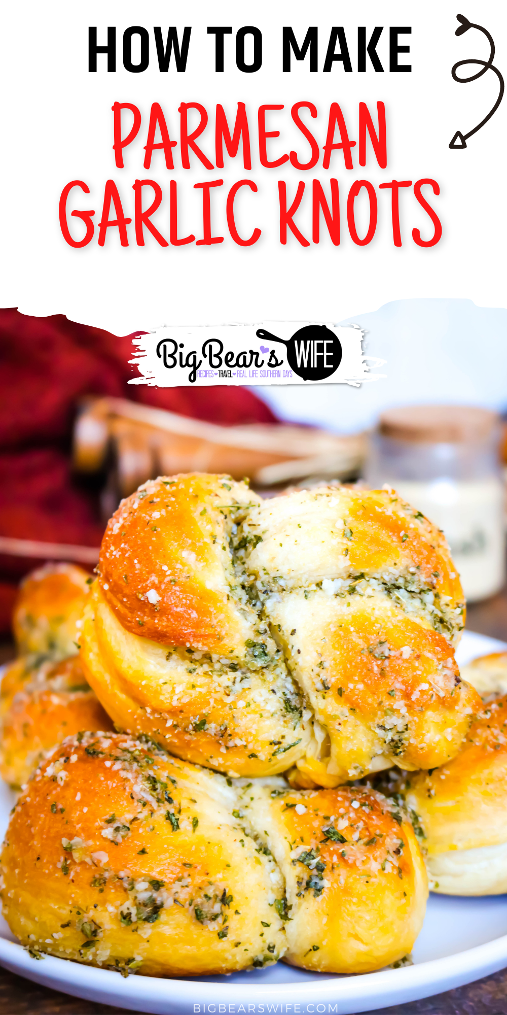 These super easy Parmesan Garlic Knots are perfect for Spaghetti night and great with a pot roast! They're made with refrigerated biscuits and you're going to love them! via @bigbearswife