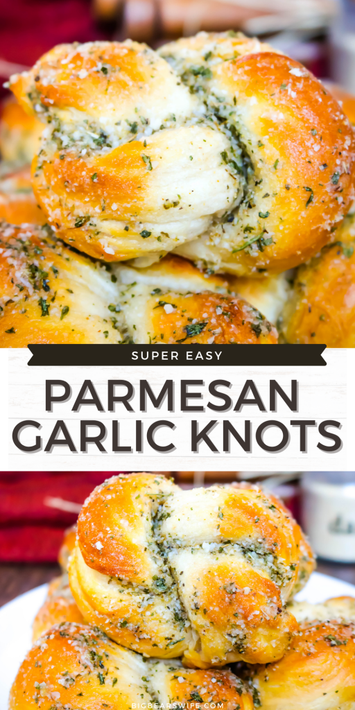 These super easy Parmesan Garlic Knots are perfect for Spaghetti night and great with a pot roast! They're made with refrigerated biscuits and you're going to love them!