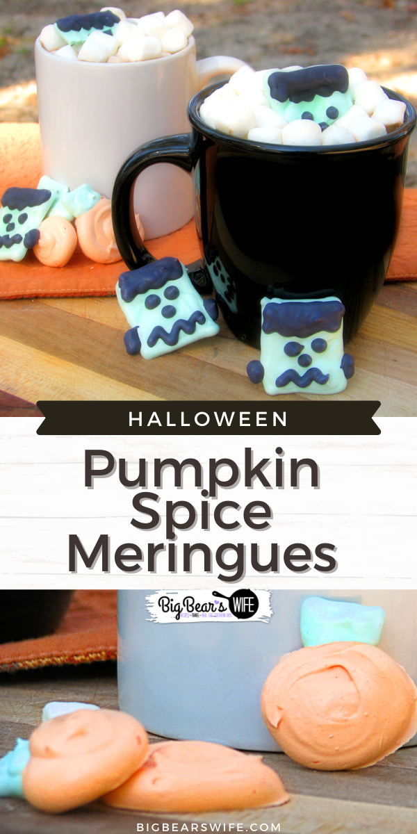 Pumpkin Spice Meringues that are perfect for Halloween Hot Chocolate or a spooky addition to your morning coffee!  via @bigbearswife