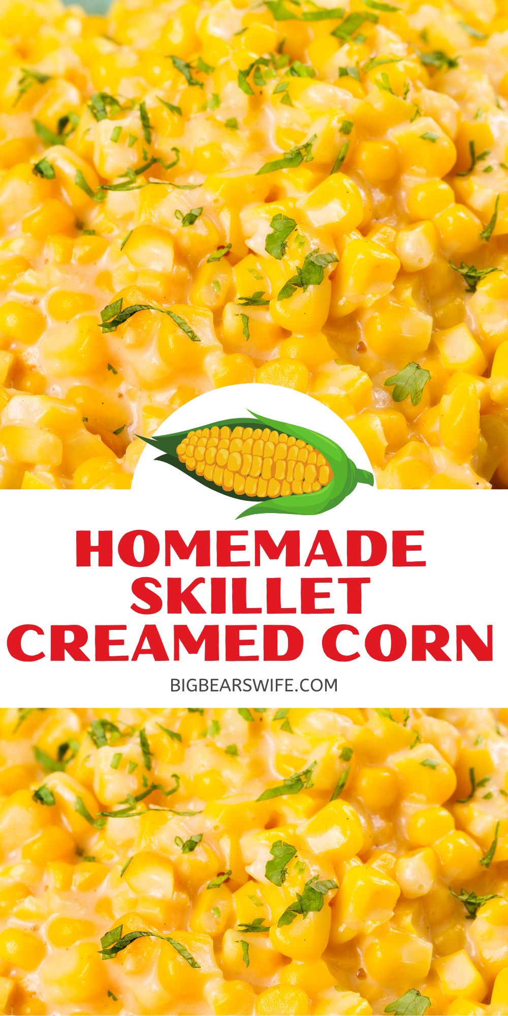 This recipe for Homemade Skillet Creamed Corn is so delicious and it's pretty easy to put together. Homemade Skillet Creamed Corn is great for a side dish for Thanksgiving, Corn Chowder or my favorite Creamed Corn Mac and Cheese!  via @bigbearswife