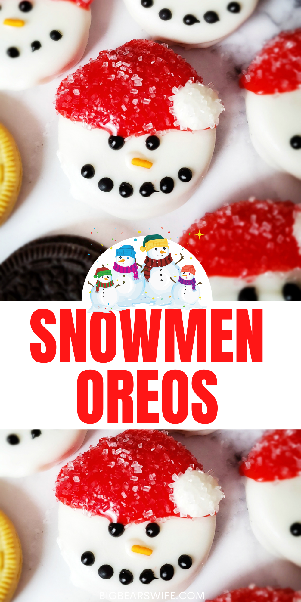 These Snowmen Oreos Cookies are so fun and easy to make! Great for cookie parties, cookie platters, nights with the kids and great to leave out for Santa! via @bigbearswife