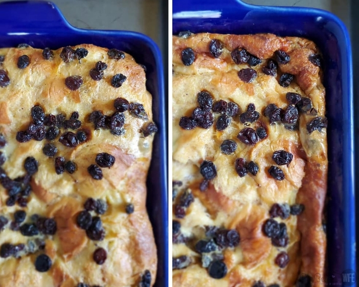 Jack Daniels Bread Pudding Cooling in Blue pan
