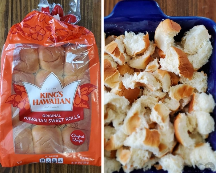 King Hawaiian Rolls in package and cubed