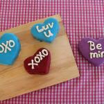 Quick Conversation Heart Cakes