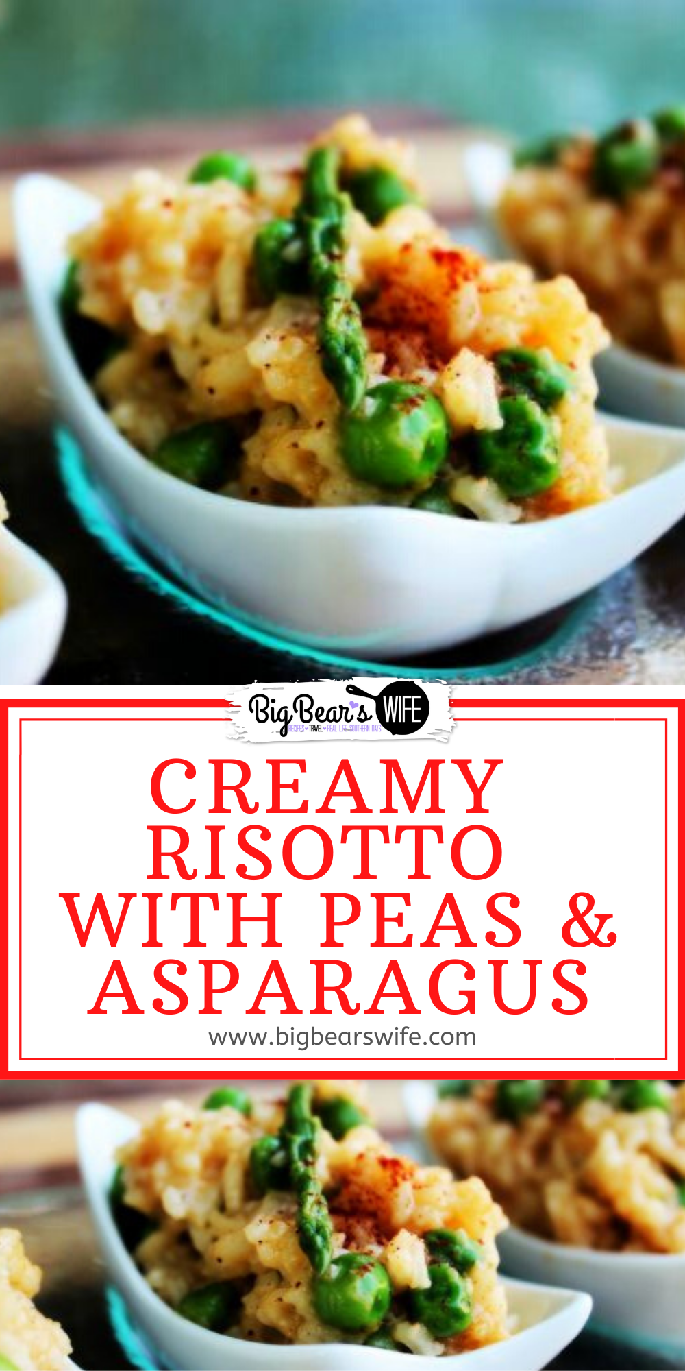 This Creamy Risotto with Peas and Asparagus is a great side dish! It's super creamy and filled with peas, asparagus and Parmesan cheese! via @bigbearswife