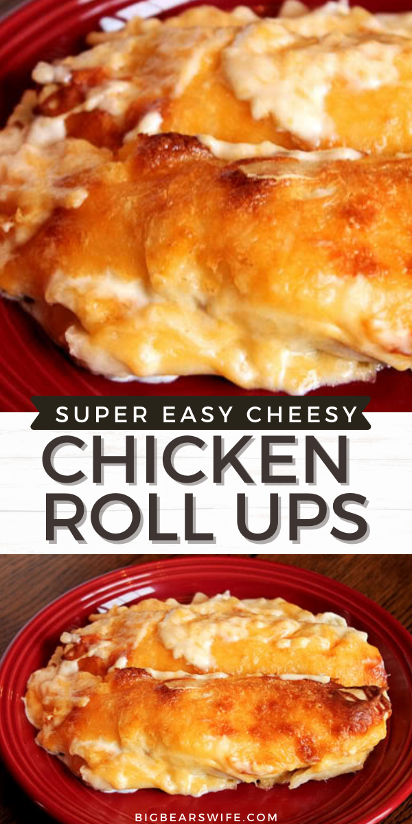 These easy Cheesy Chicken Roll Ups remind me of cheesy chicken enchiladas! The're easy to make and super delicious!