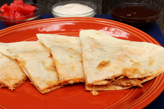 BBQ & Cheese Chicken Quesadilla from BigBearsWife.com