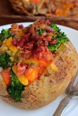 Loaded Chicken Stuffed Potatoes #SundaySupper