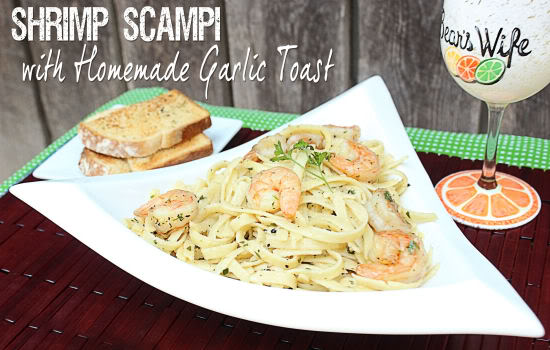 Shrimp Scampi with Homemade Garlic Toast from BigBearsWife.com