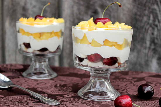 Mini Peach and Cherry Trifles