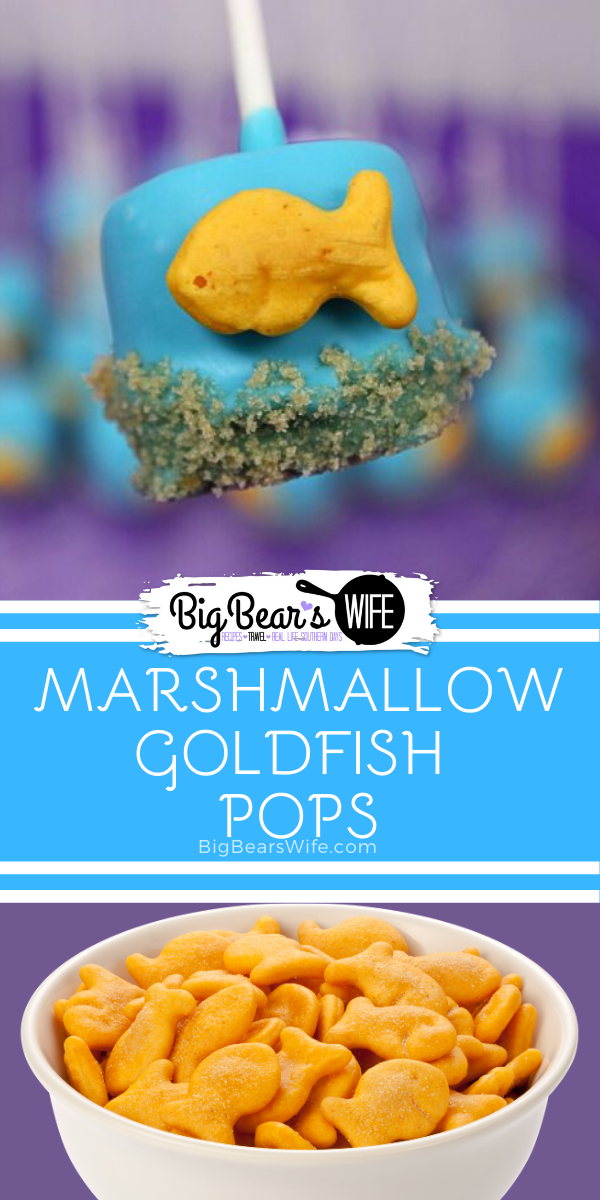 Marshmallow Goldfish Pops - These super cute Marshmallow Goldfish Pops are perfect for a mermaid babyshower or an under the sea birthday party theme! via @bigbearswife