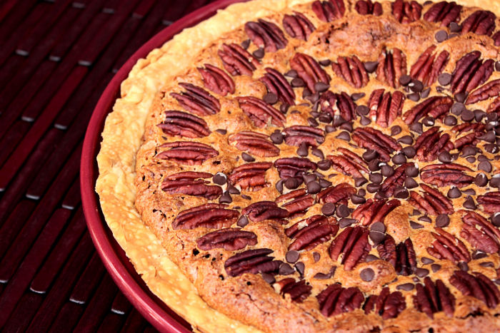 Chocolate Chip Pecan Pie BigBearsWife.com @BigBearsWife