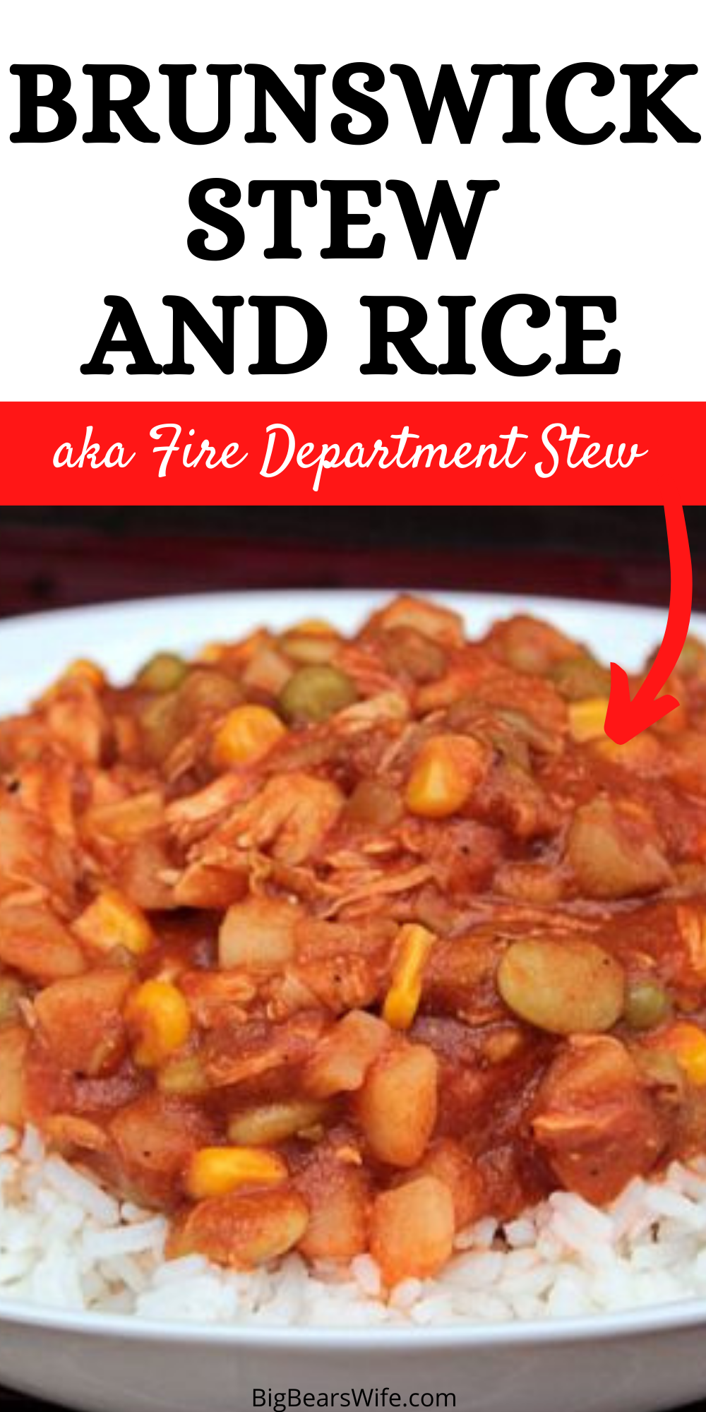 We love fire department stew but we can only get it a few times a year! So we decided to make our own version at home! This Brunswick Stew and Rice is stew perfection but of course, you don't have to serve it over rice! via @bigbearswife
