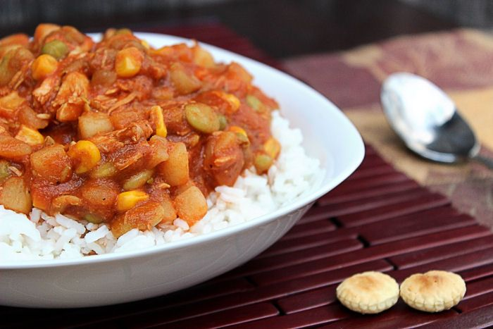 BRUNSWICK STEW AND RICE in a white bowl