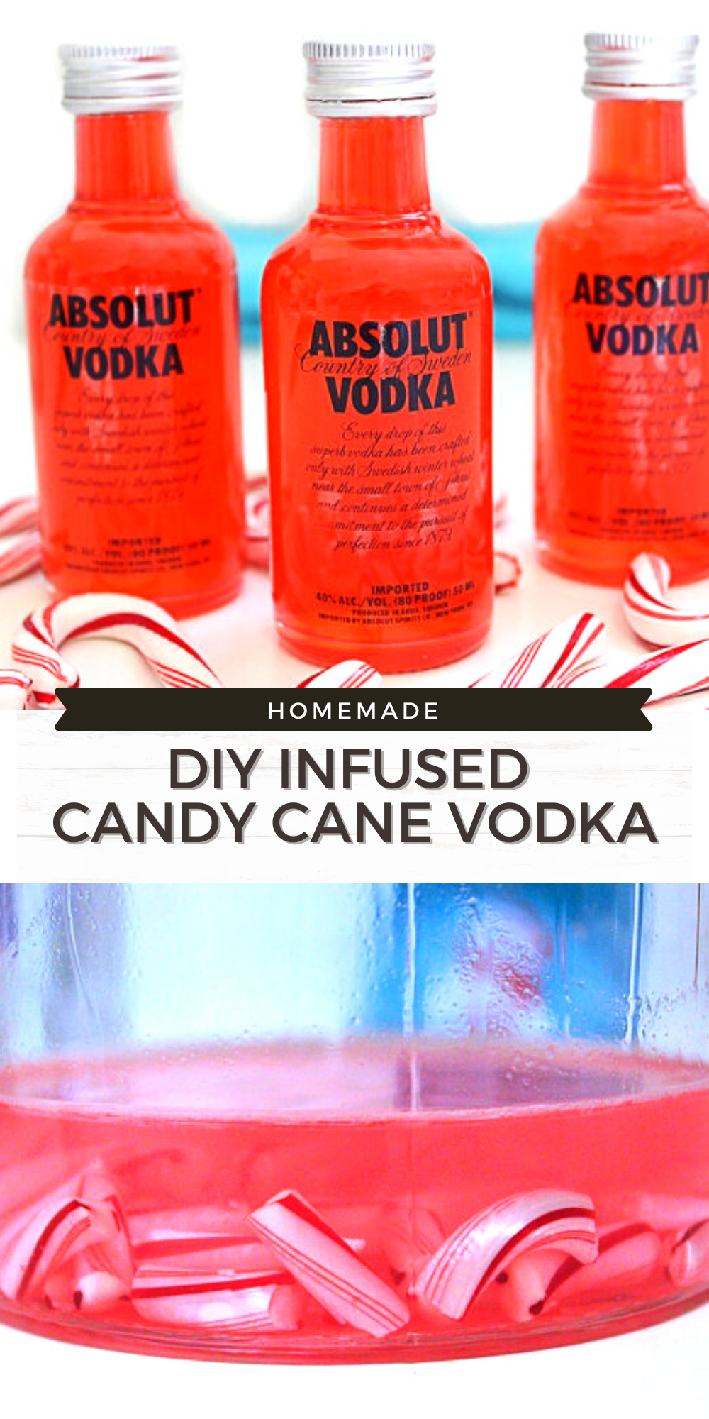 This infused Candy Cane Vodka is perfect to make for friend and family for Christmas! I love making these little bottle as gifts and as stocking stuffers for adult friends and family members.