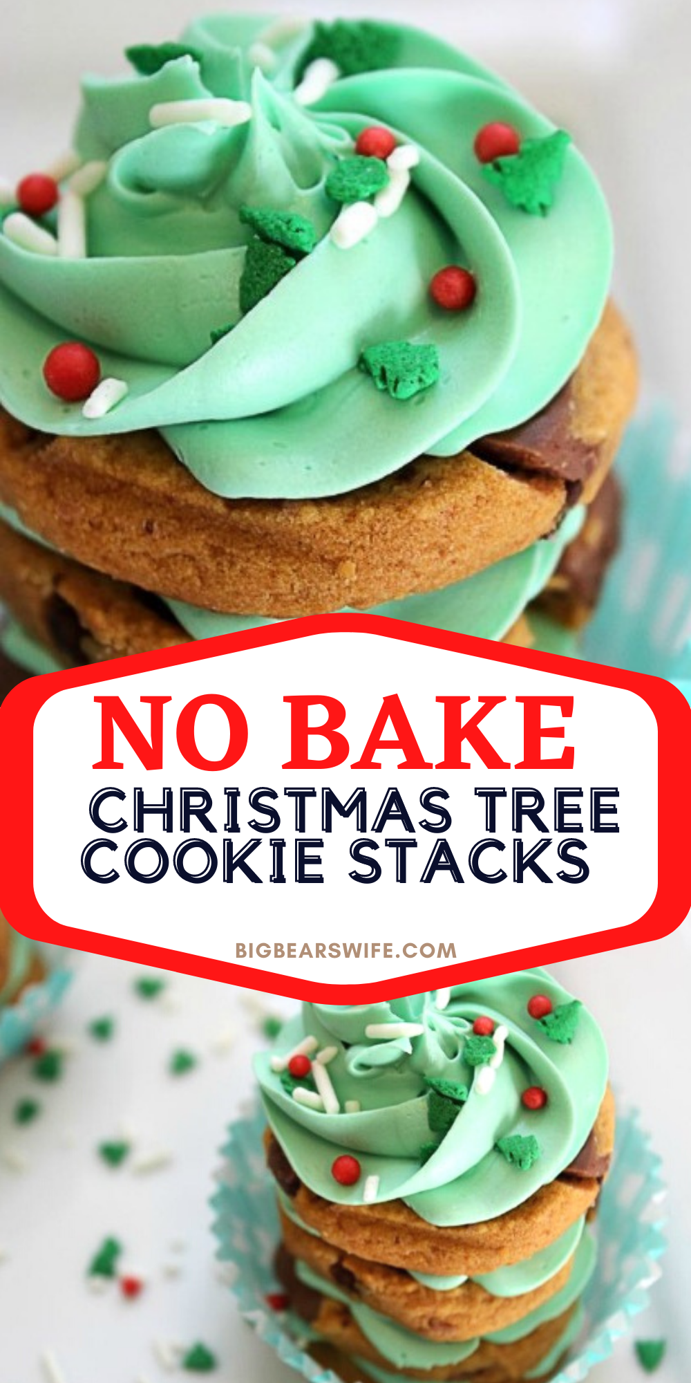 If you need a quick but cute no bake Christmas dessert, these No Bake Christmas Tree Cookie Stacks are for you! They're made with stacks of store-bought cookies and frosting to create the cutest little Christmas treats. via @bigbearswife