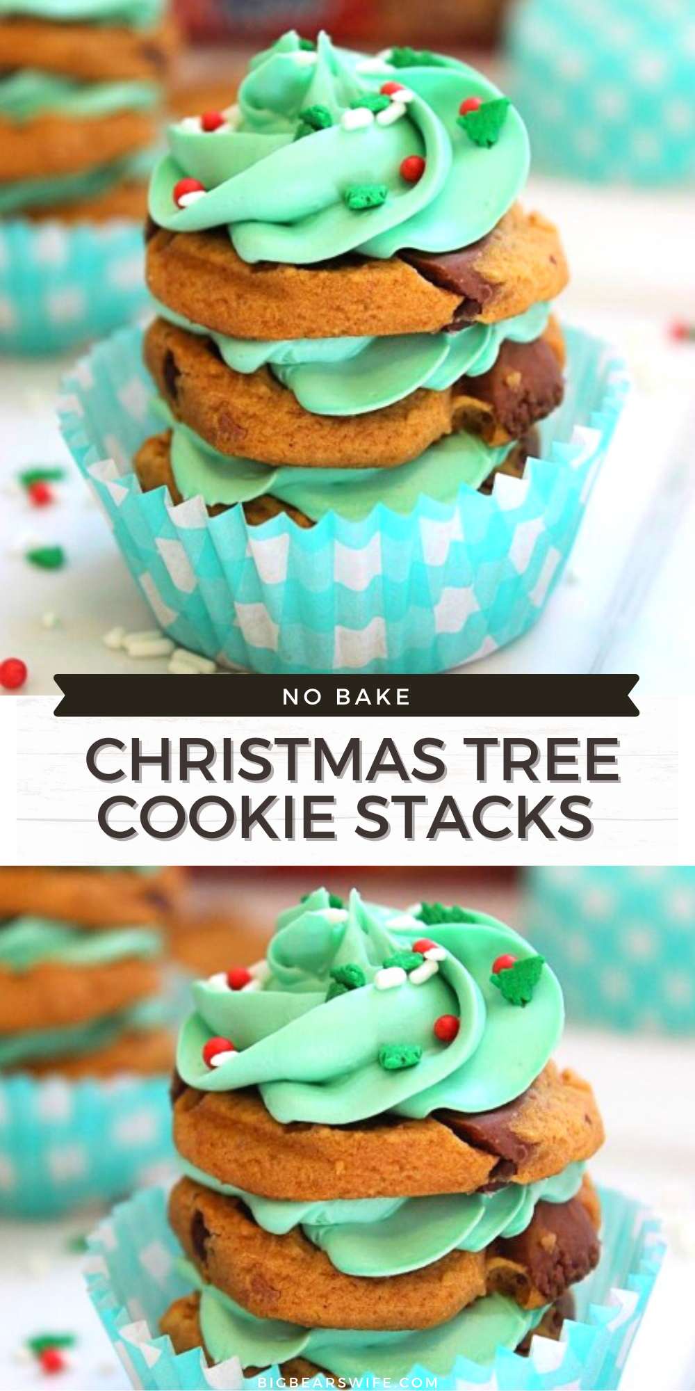 If you need a quick but cute no bake Christmas dessert, these No Bake Christmas Tree Cookie Stacks are for you! They're made with stacks of store-bought cookies and frosting to create the cutest little Christmas treats.
