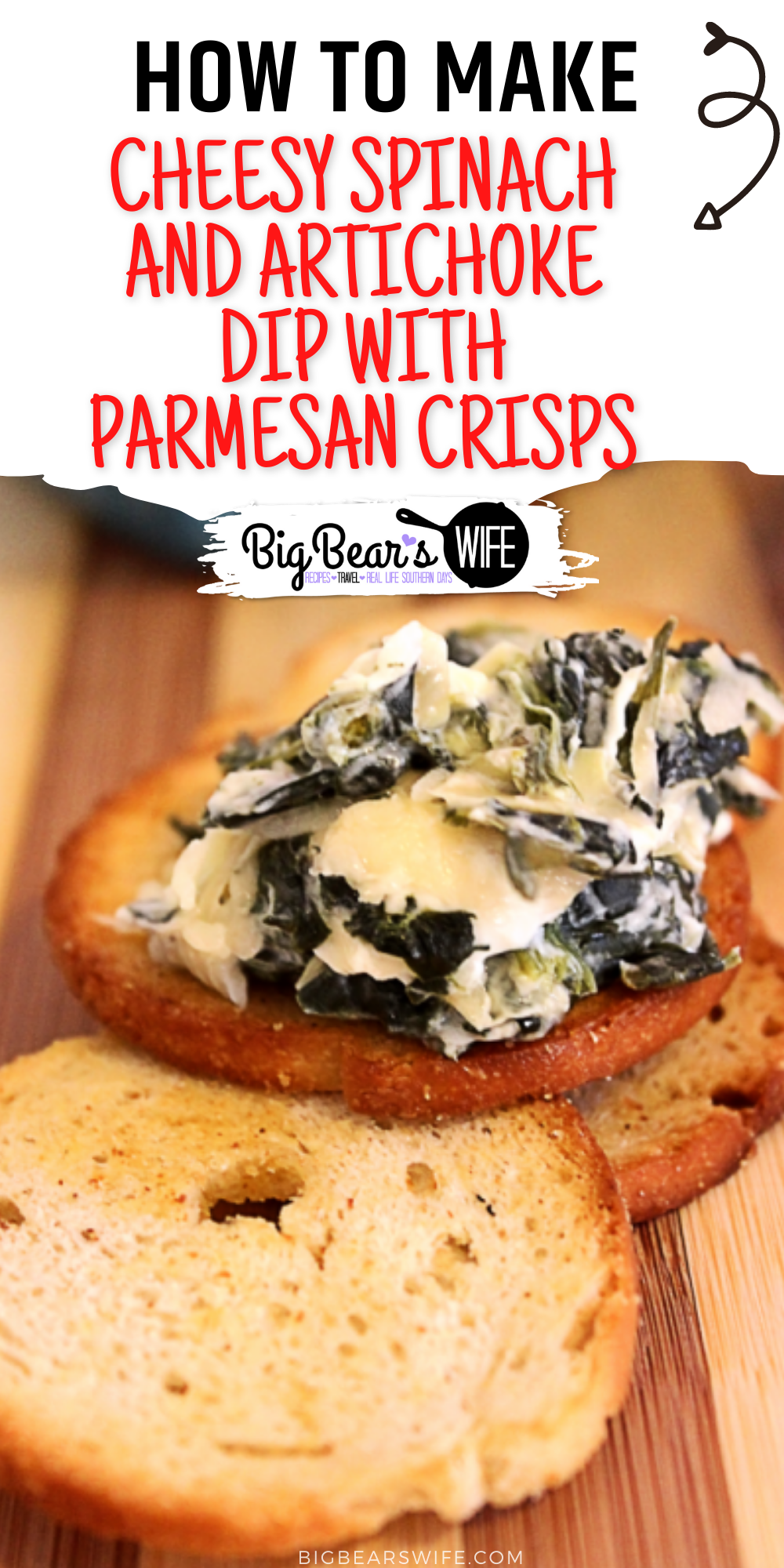 A super delicious Cheesy Spinach and Artichoke Dip with Parmesan Crisps that's perfect for parties and holidays! via @bigbearswife