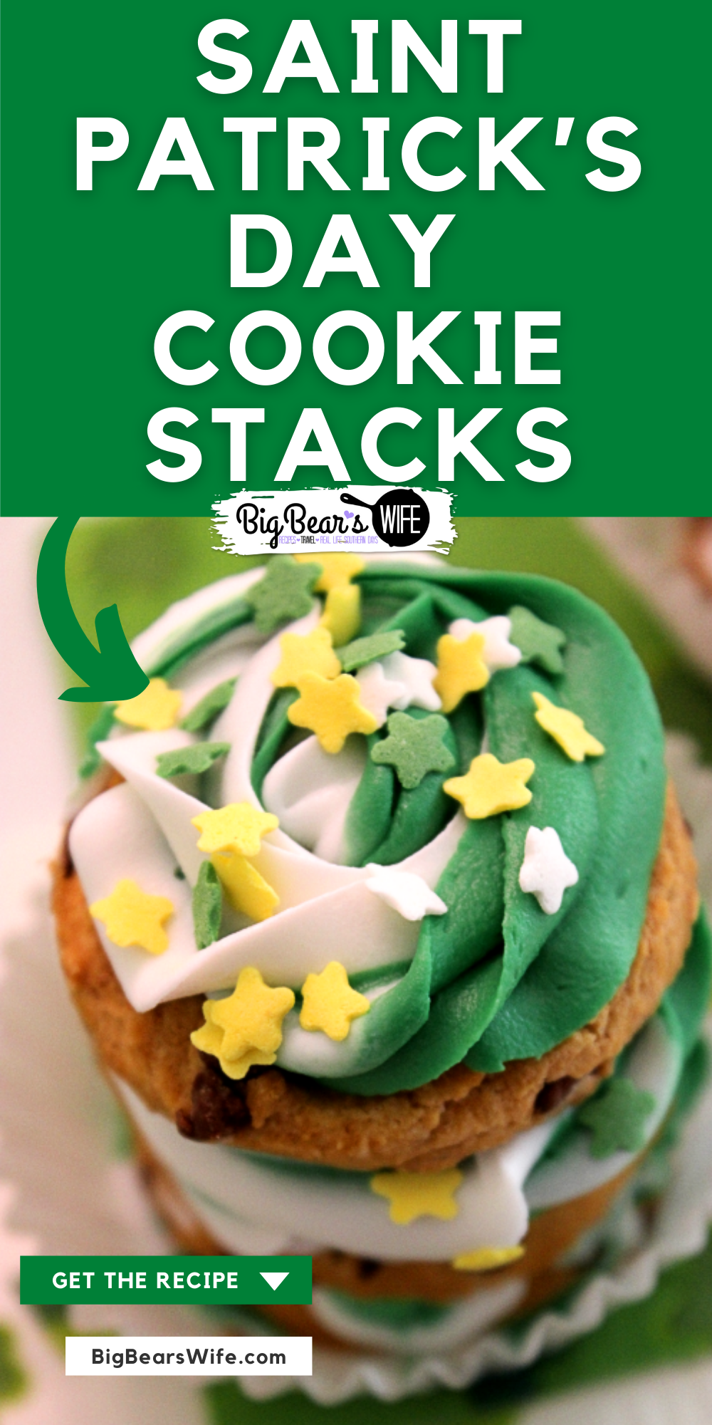 No need to go super crazy with the St. Patricks Day treats! Sometimes, simple is best! These no bake Saint Patrick's Day Cookie Stacks are easy to decorate and fun to eat! via @bigbearswife