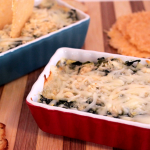 Cheesy Spinach and Artichoke Dip with Parmesan Crisps
