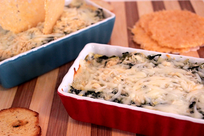 Cheesy Spinach and Artichoke Dip with Parmesan Crisps #SundaySupper