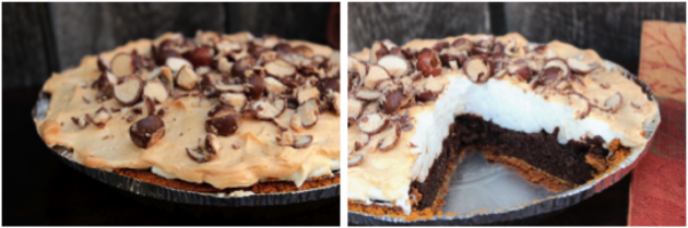 Malted Milk Ball Chocolate Pie - This homemade Malted Milk Ball Chocolate Pie is a perfect homemade chocolate malt pie with crushed Whoppers candies added into the pie and tossed on top!