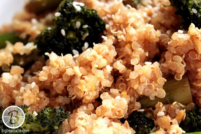 "Broccoli and Asparagus ""Fried"" Quinoa from BigBearsWife.com"