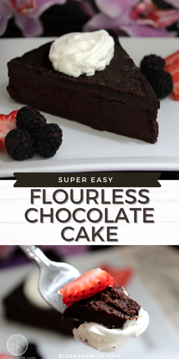 This super Easy Flourless Chocolate Cake is naturally gluten free and a wonderful, tasty dessert. This Easy Flourless Chocolate Cake is made with 5 simple ingredients that you probably already have at home!  via @bigbearswife