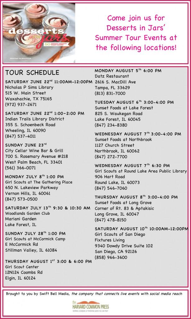 Desserts in Jars Summer Tour Schedule