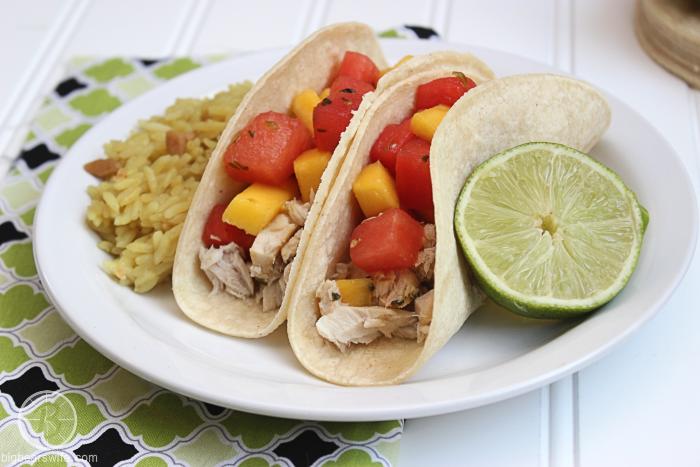 Mango Watermelon Salsa Mahi Mahi Tacos #FlavorsofSummer