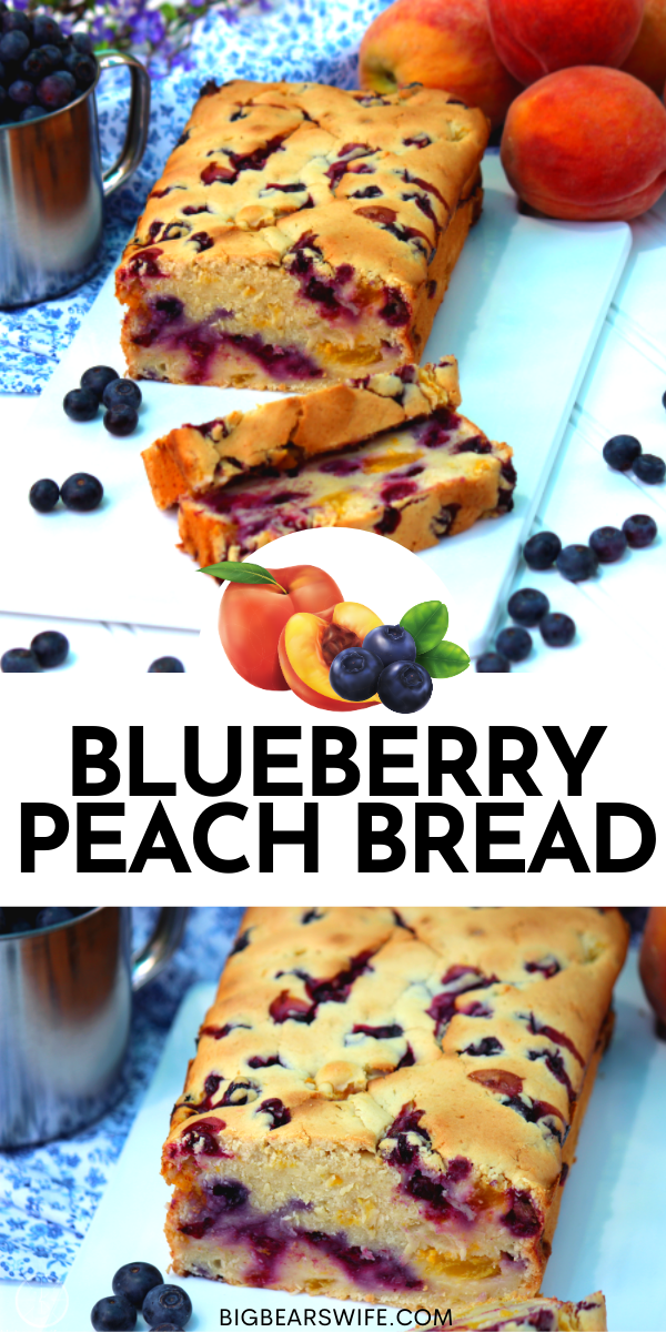 This Blueberry Peach Bread is a super popular recipe on the blog! This Blueberry Peach Bread is made with fresh blueberry and fresh peaches for the perfect summertime bread!  via @bigbearswife