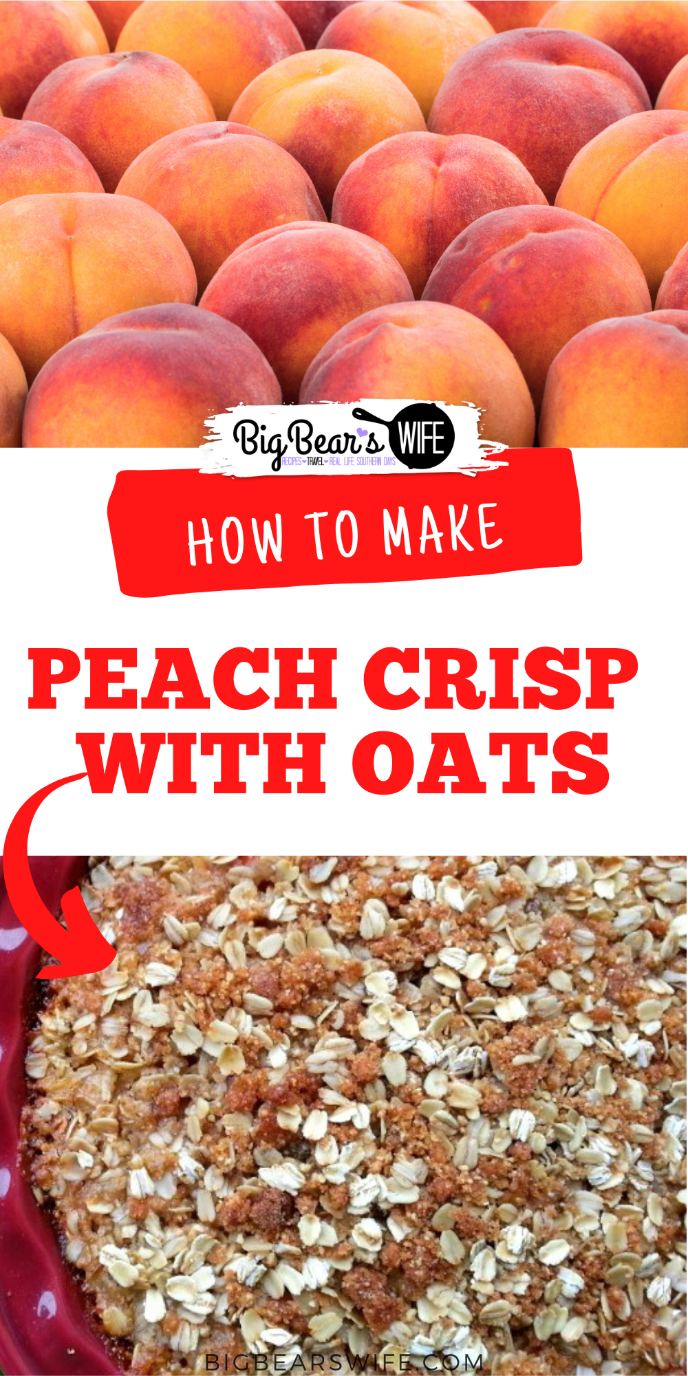 This peach crisp is made with an almond flour and oat topping which makes it a great gluten free dessert!  via @bigbearswife