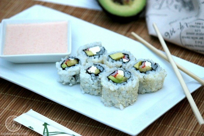 Homemade Sushi {Avocado, Pineapple, Cream Cheese and Crab} #FlavorsofSummer
