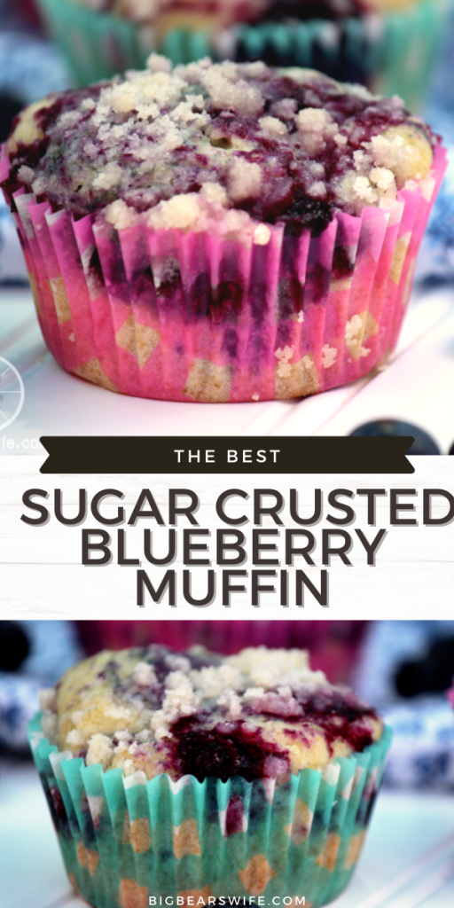 The BEST SUGAR CRUSTED BLUEBERRY MUFFIN