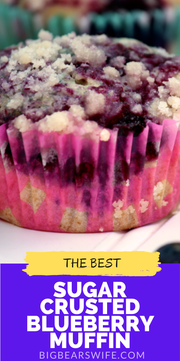 These Sugar Crusted Blueberry Muffins might qualify as the BEST blueberry muffin recipe that I've ever made!   via @bigbearswife