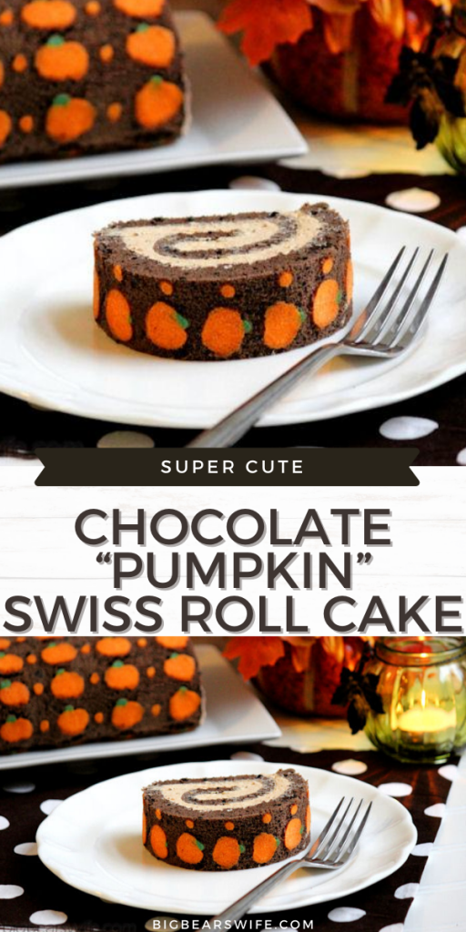 "Chocolate ""Pumpkin"" Swiss Roll Cake"