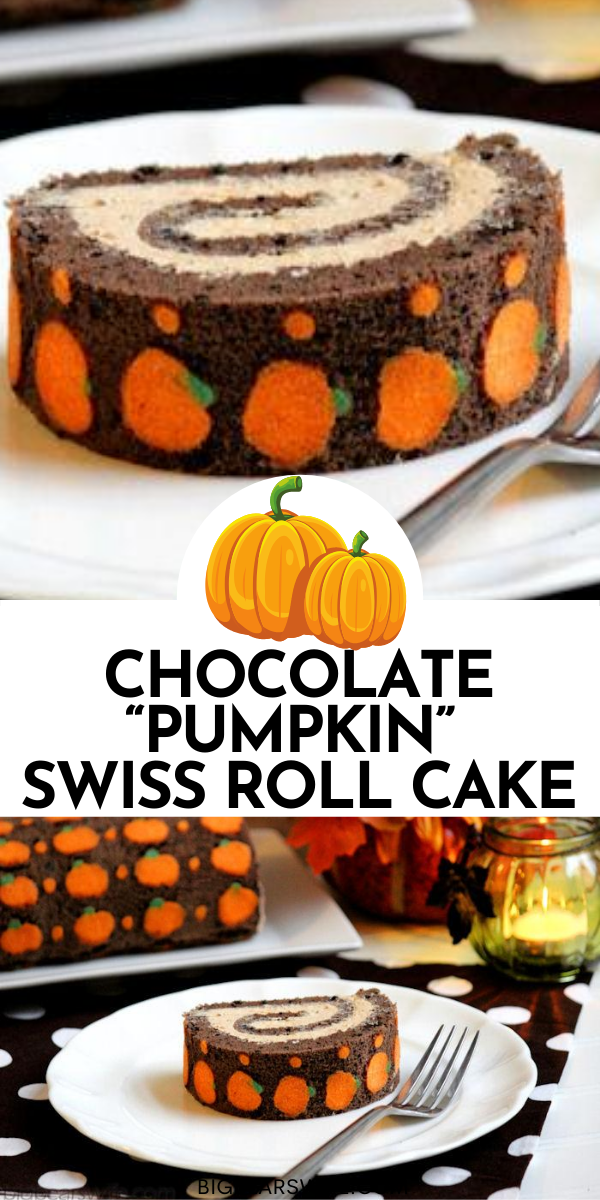 "This Chocolate ""Pumpkin"" Swiss Roll Cake is a chocolate sponge cake that's been dotted with little orange pumpkins and filled with chocolate buttercream! via @bigbearswife"