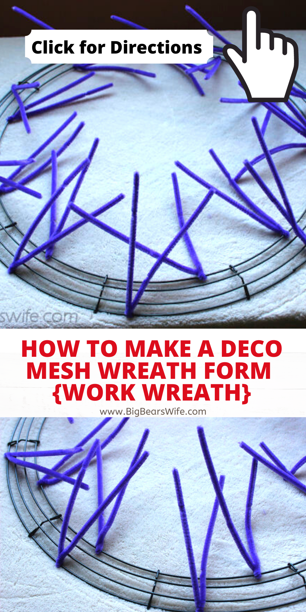 How To Make A Deco Mesh Wreath Form Work Wreath Big Bear S Wife