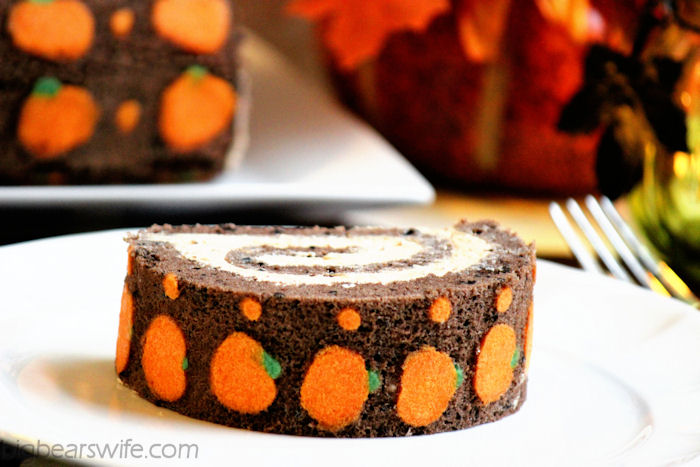 "Chocolate ""Pumpkin"" Swiss Roll Cake #SundaySupper 