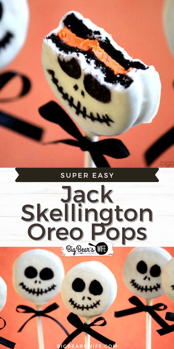 Jack Skellington Oreo Pops are so easy to make and would be great for a Halloween Party! via @bigbearswife